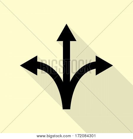 Three-way direction arrow sign. Black icon with flat style shadow path on cream background.