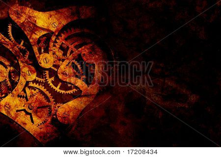 Abstract grunge background with old clock gears, with copy space