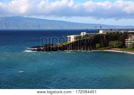 Black Rock on Kahanapali Beach in Maui Hawaii. Lahina and Kahanapali Beach end at Black Rock a famous tourist destination on the west side of maui Hawaii.
