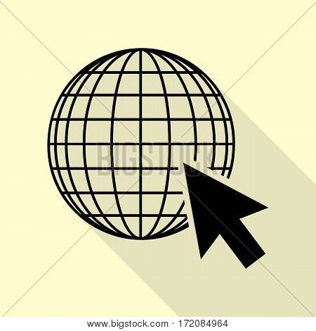 Earth Globe with cursor. Black icon with flat style shadow path on cream background.