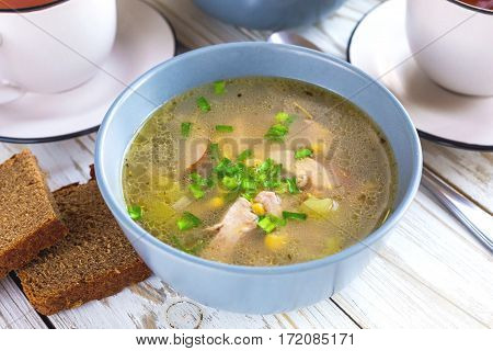 Traditional Nigerian Corn And Smoked Chicken Clear Soup
