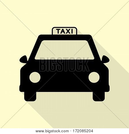 Taxi sign illustration. Black icon with flat style shadow path on cream background.