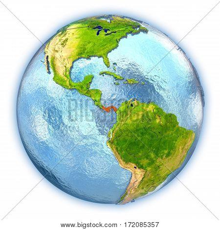 Panama On Isolated Globe