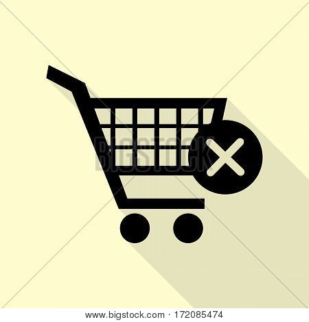 Shopping Cart with delete sign. Black icon with flat style shadow path on cream background.