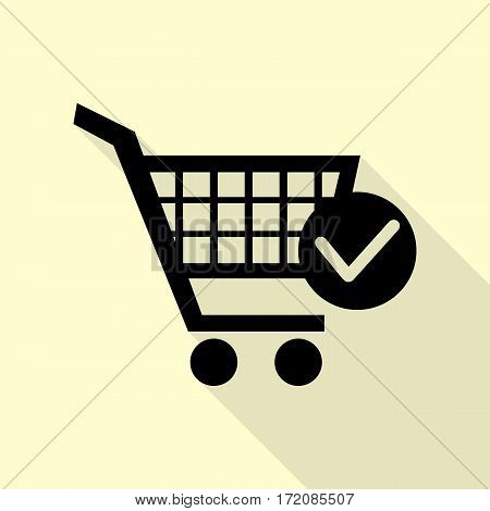 Shopping Cart with Check Mark sign. Black icon with flat style shadow path on cream background.