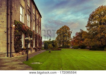 Wakefield United Kingdom - October 20 2016: Walton Hall a 4 star hotel in a scenic setting of rolling parkland with its own lake a backdrop of ancient woodland and a championship golf course.