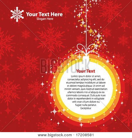 Christmas template with copy space in red colors, vector. More variants in portfolio.