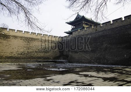 Shanxi province Chinese Pingyao County watchtower big wall, silent to protect the city's people.