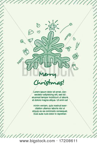 Funny card with Christmas elements and copy space, vector. Please visit my portfolio for more variants