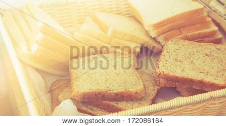 Close up bread in basket with color filters