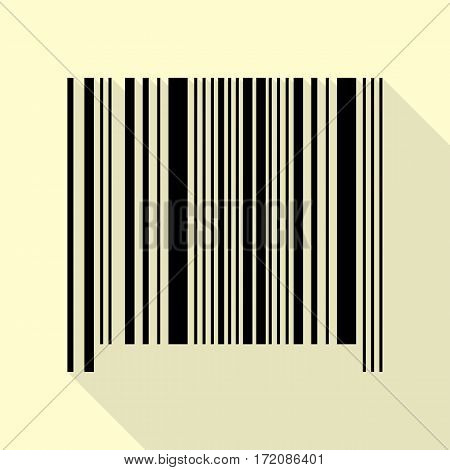 Bar code sign. Black icon with flat style shadow path on cream background.