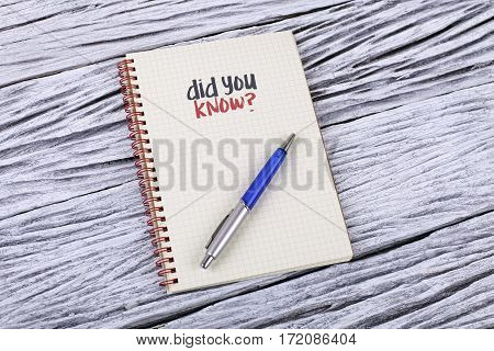 Did You Know? Word On A Notepad.