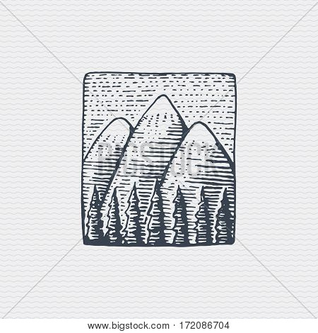 vintage old logo or badge, label engraved and old hand drawn style with mountains peak above forest.