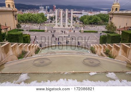 View of Barcelona from fountain on Plaza de Espana at Montjuic in Barcelona, Spain