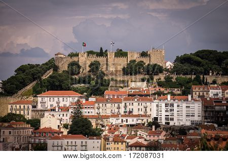 View on Castelo de Sao Jorge in Lisbon, Portugal