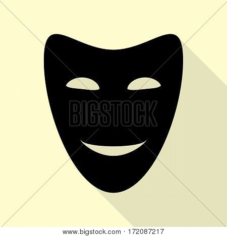 Comedy theatrical masks. Black icon with flat style shadow path on cream background.