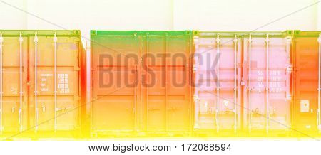 Cargo containers in storage area with color filters
