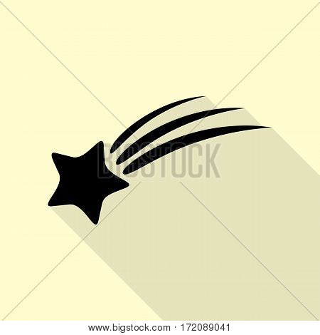 Shooting star sign. Black icon with flat style shadow path on cream background.