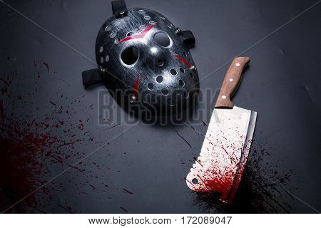 Serial murderer tools isolated on black background