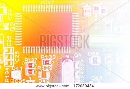 part of electronic circuit with color filters