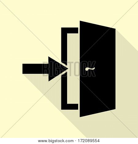 Door Exit sign. Black icon with flat style shadow path on cream background.