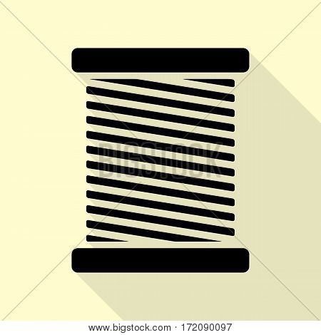 Thread sign illustration. Black icon with flat style shadow path on cream background.