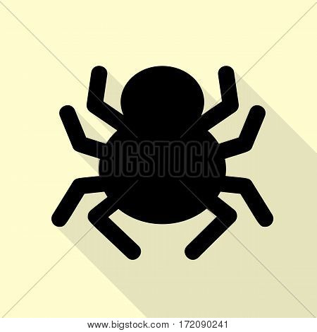 Spider sign illustration. Black icon with flat style shadow path on cream background.