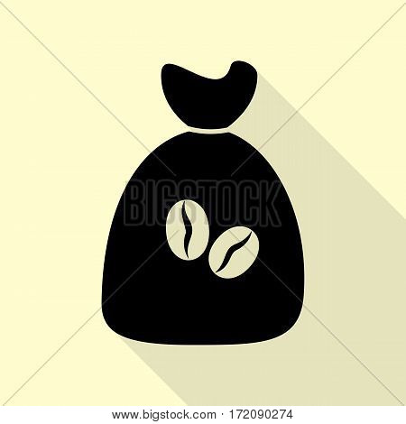 Coffee bag Icon. Coffee bag Vector. Coffee bag Icon Button. Black icon with flat style shadow path on cream background.