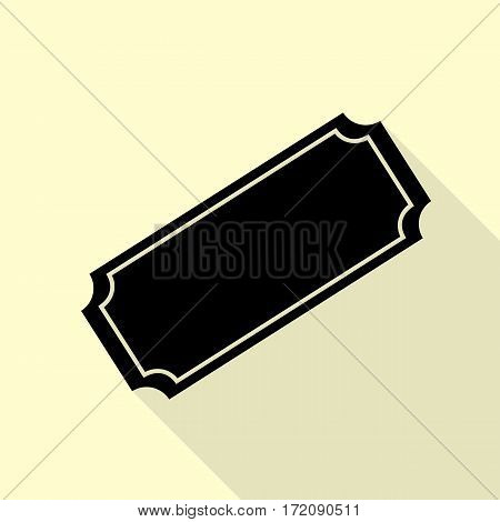 Ticket sign illustration. Black icon with flat style shadow path on cream background.