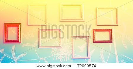 Abstract of frames on wall vintage stye