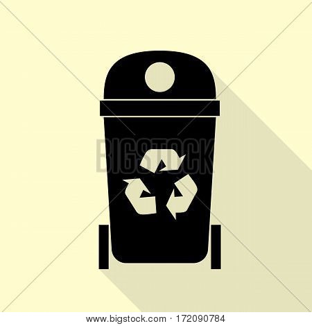 Trashcan sign illustration. Black icon with flat style shadow path on cream background.