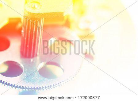 Close up of metal cog gears vintage style