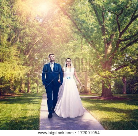 Beautiful newlyweds walking in a green park.
