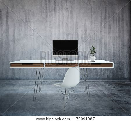 Levitating desk and chair on wire legs with computer and plant against grey concrete background. Modern furniture design concept. 3d rendering