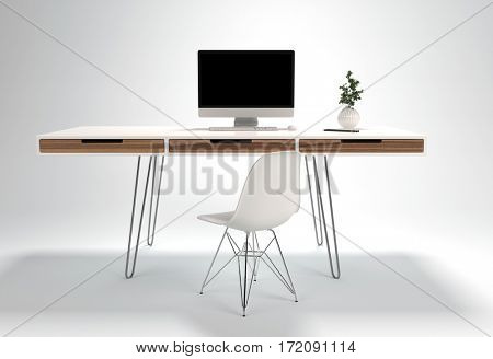 Modern workplace design with thin wire legs desk and light chair, computer and plant. Isolated on white background. 3d rendering