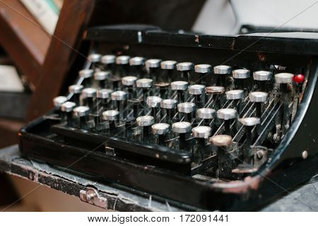 antique typewriter vintage dusty typewriter side view