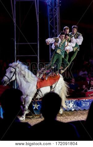 SZEGED, HUNGARY - JUNE 12. 2016 - horse riding performance of Hungarian National Circus by the Richter Group