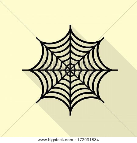 Spider on web illustration. Black icon with flat style shadow path on cream background.
