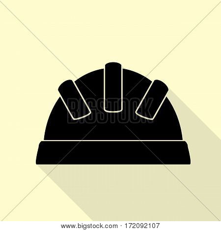 Baby sign illustration. Black icon with flat style shadow path on cream background.