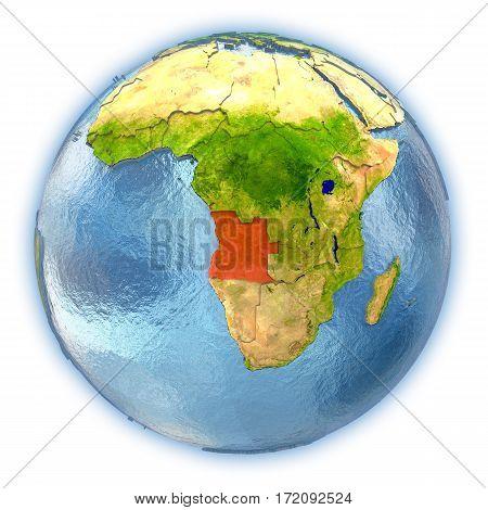 Angola On Isolated Globe