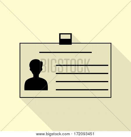 Identification card sign. Black icon with flat style shadow path on cream background.