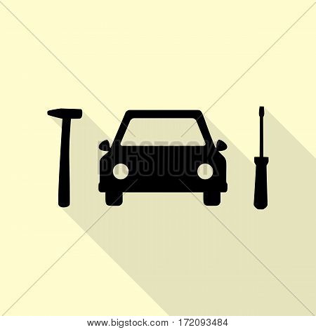 Car tire repair service sign. Black icon with flat style shadow path on cream background.