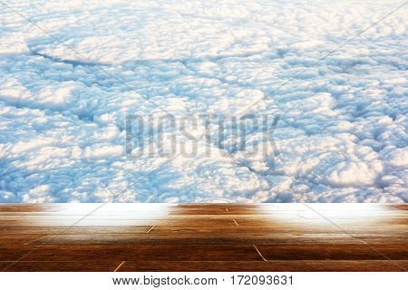 blue sky with cloud closeup as background with wooden