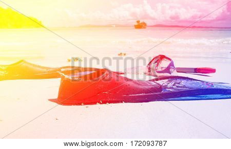 Image snorkelling on beach with color filters