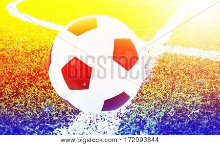 Soccer ball on the field with color filters