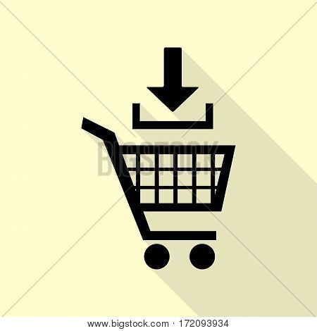 Add to Shopping cart sign. Black icon with flat style shadow path on cream background.