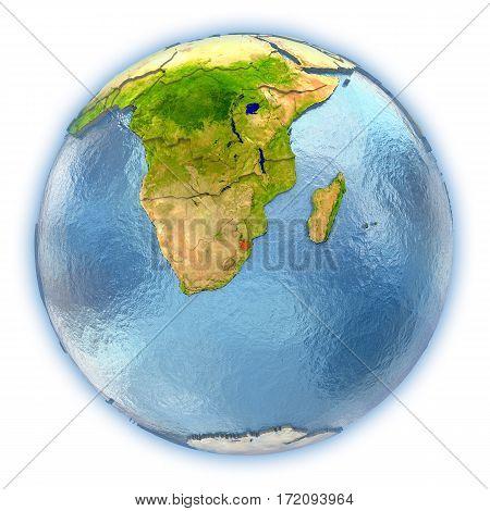 Swaziland On Isolated Globe
