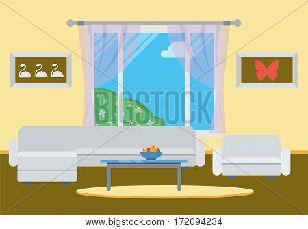 Stylish comfortable room interior with sofa, window. Flat style vector illustration.