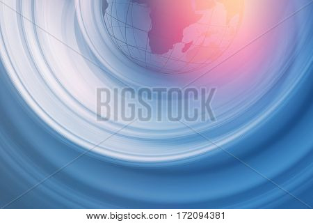 Graphical Abstract Background Radial White Motion Blur Trails in Front of Blue Background with Earth Globe in Top Part. 3d illustration, 3d rendering