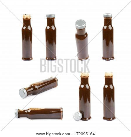 Glass bottle of barbecue bbq sauce isolated over the white background, set of multiple different foreshortenings